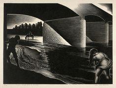"""Three Kids and a Horse"" - Paul Landacre - Wood Engraving - 1943 by Thomas Shahan 3, via Flickr"