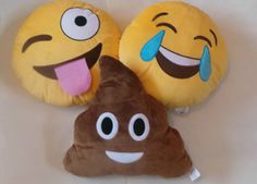 NEW Set of 3 Emoji Emotion Cushions Stuffed Plush Pillows Round Yellow 32cm Poop