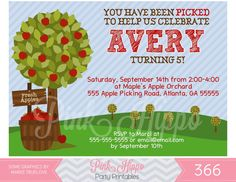 Shop for fall party invitations on Etsy, the place to express your creativity through the buying and selling of handmade and vintage goods. Free Printable Invitations, Party Printables, Fall Party Invitations, 3rd Birthday, Birthday Parties, Apple Orchard, Rsvp, Birthdays, Just For You