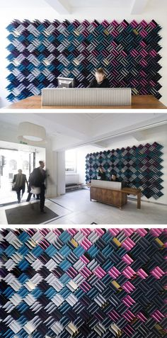 RCKa has completed Acoustitch, an art piece in the foyer of 11 Waterloo Place in St James's, London, that was made from over 780 pieces of acoustic foam.