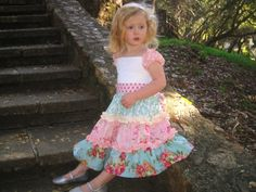 ccf13901371e love this! Tasha Girl s Cap Sleeve 3 Tiered Ruffle Dress with Pin Tucks and  Lace