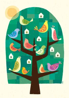 Baby Drawing Illustration Artworks 47 New Ideas Baby Cartoon Drawing, Baby Drawing, Cartoon Drawings, Tree Illustration, Graphic Design Illustration, Tree Story, Baby Animal Nursery, Scandinavian Folk Art, Bird Art