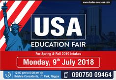 Attend USA Education Fair on Monday, 9th July Time: 12:00 pm to 5:00 pm Meet High Ranked US Universities all under one roof  Benefits of attending the event:  Free Profile Evaluation and Counselling Opportunity to Interact with University delegates directly   Scholarship Opportunities  Admissions without SAT/GRE possible Admissions possible with Low English Proficiency Scores