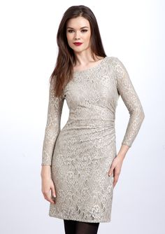 Tahari Arthur S Levine Pee Three Quarter Sleeve Stretch Lace Dress Fashion Essentials