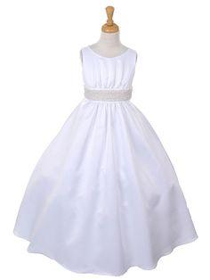 Satin Communion Dress with Pearl Belt