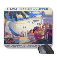 Vintage Pan American Hawaii Travel Poster Mouse Pad