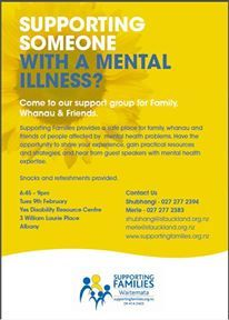 Come along and meet other people supporting someone with a mental illness.