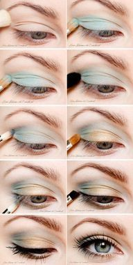 This beautiful blue and gold eye shadow really makes these blue eyes sparkle. Go to Beauty.com for more of your makeup needs.