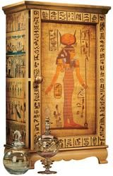 distinctive curio is an artistic blending of hieroglyphics and one of the most revered goddesses of ancient culture, Hathor. Egyptian Furniture, Egyptian Home Decor, Egyptian Decorations, Indian Furniture, Antique Furniture, Egyptian Symbols, Ancient Egyptian Art, Ancient Egyptian Architecture, Egyptian Party