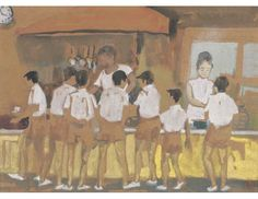 School Canteen; Artist: Chen Chong Swee; Year: undated; Country: Singapore; Medium: watercolour on paper; Dimensions: 27 x 37 cm