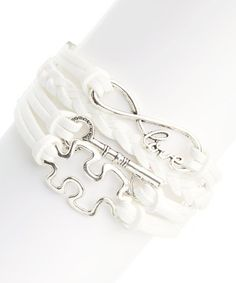 Look at this #zulilyfind! White Key to Puzzled Love Bracelet by Simply Reese #zulilyfinds $12