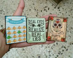 Fridge Magnets set of 3, handmade, magnet, kitchen, wooden, vintage, design, gift, fish, skull, dia de los muertos, quotes, funny, eyes Disc Magnet, My Collection, Fun Prints, I Shop, Magnets, Great Gifts, Skull, Messages, Fish
