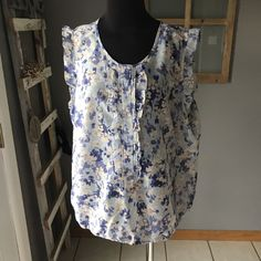 Gap Pale Blue Periwinkle Beige Floral Polyester Ruffled Sleeveless Blouse XXL #Gap #Blouse #CareerDress