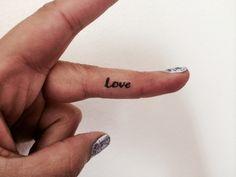 10 Love Temporary Tattoo Tiny Love Word / Finger Face Tattoo / Fake Tattoos / Set of 10