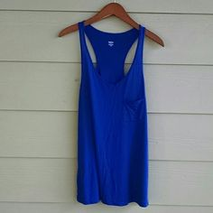 MOSSIMO racerback tank Cobalt blue racer back tank with breast pocket. On the flowy side and runs longer than your average tank. Washed and wore one time and in great condition. 100% modal Mossimo Supply Co. Tops Tank Tops
