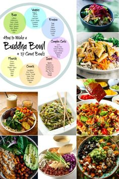 The perfect Buddha Bowl {aka Bliss Bowl} made easy, plus 37 recipes to get your creative juices flowing. {Includes How to Make a Buddha Bowl info-graphic} Healthy Chicken Recipes, Lunch Recipes, Healthy Dinner Recipes, Healthy Snacks, Vegetarian Recipes, Healthy Eating, Salad Recipes, Vegan Meals, Vegetable Recipes