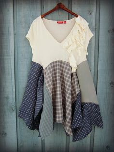 XL Periwinkle Cream Bohemian Tunic Top// Upcycled Shabby Chic