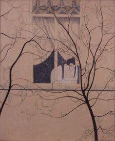 Woman by the Window  -  Léon Spilliaert  1916  Belgian  1881-1946  Pastel en kleurkrijt op papier , 690 x 565 mm