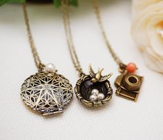Christmas Gift Set of 3 Antique Brass Victorian Style Necklaces Christmas Gift Sets, Victorian Fashion, Playing Dress Up, Fashion Necklace, Antique Brass, Gifts For Her, Necklaces, Pendant Necklace, Antiques