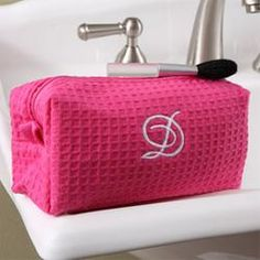 Personalized Cosmetic Bag - Pink Waffle Weave  $14.95