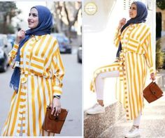 striped yellow tunic with hijab-Hijab fashion ideas for Easter – Just Trendy Girls
