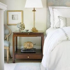 Courtney Giles Interiors - bedrooms - fireplace, gray, blue, damask, headboard, walnut, nightstand, antique, brass, lamp, Suzanne Kasler, Qu...