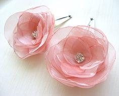 Pink Organza Flower Hair Clip Set 2