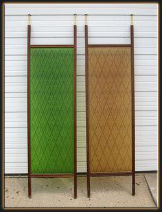 Vintage 60s Mid Century Modern Mad Men Teak Amber & Green 2 Tension Screen Panel…