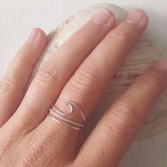Wave Ring - TERRAMAR - Dainty Handmade Sterling Silver Wave Ring by LowTideLanding on Etsy