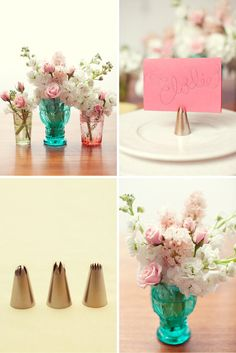 DIY flowers, vintage looking glassware for vases, photos or food signs on frosting tips if cupcakes are highlighted