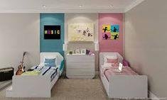 Resultado de imagem para quarto de casal de gemeos adolescentes Boy And Girl Shared Bedroom, Shared Rooms, Baby Boy Rooms, Girl Room, Girls Bedroom, Dorm Room Layouts, Girl Bedroom Designs, Kids Room Design, Double Room