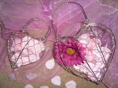 Silver small or large wired heart handbag/ basket for flower girl/ bridesmaid