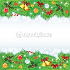 новогодняя рамка с украшенные елки — Векторная картинка #35534003