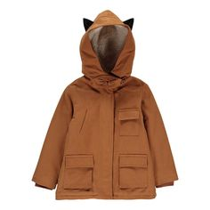 Emile et Ida Fur-Lined Parka with Cat Ears Caramel - Kids fashion - Smallable