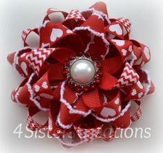 Valentine Day Flower Loop Bow with Custom Heart, Chevron and Moonstitch Ribbon Pearl and Rhinestone Center