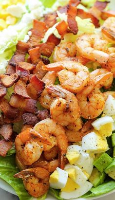 Shrimp Cobb Salad with Cilantro Lime Vinaigrette ~ A light, filling salad loaded with roasted shrimp, bacon bits, and avocado in a tangy, refreshing vinaigrette!