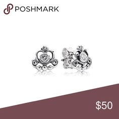 Authentic!!!! Pandora princess earrings Great condition barely worn !!!! Pandora Jewelry Earrings