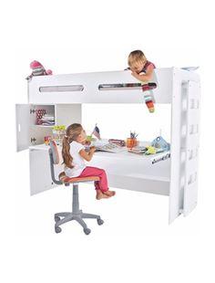 Lit enfant combin avec bureau coulissant byblo coloris for Bureau enfant evolutif