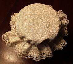 4 White on Beige Canning Jar  Bonnets/Jar by KathysHeartCreations