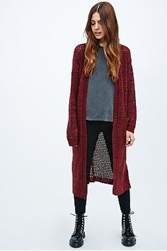 Pins & Needles – Gestrickter Maxi-Cardigan in Rot