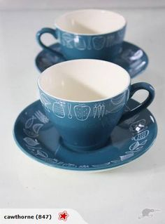 Crown Lynn Narvik Cups and Saucers in Blue | Trade Me