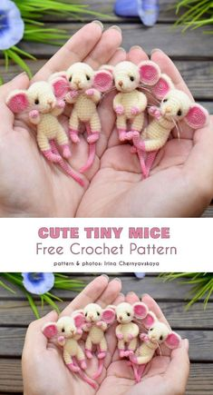 Cute Tiny Mice Free Crochet Pattern These cute (ultra-cute?) amigurumi mice will certainly warm the hearts of any crochet animal fan. This are easy patterns that will enable you to quickly Crochet Pattern Free, Pattern Cute, Crochet Diy, Crochet Gratis, Crochet Mouse, Crochet Motifs, Crochet Patterns Amigurumi, Knitting Patterns, Crochet Birds