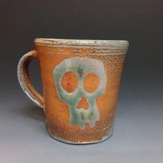 Green Skull Coffee Mug (#1)  Ron Philbeck Pottery. Soda Glazed Stoneware