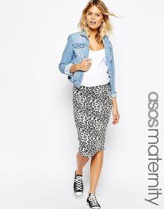 ASOS Maternity | ASOS Maternity Midi Skirt in Leopard Print at ASOS