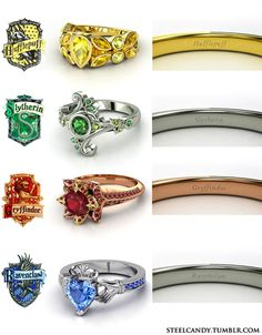 Harry Potter 'The Four Houses' engagement rings! My future husband will know to get me one.