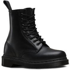 Dr. Martens Leather 1460 Mono Boots ($135) ❤ liked on Polyvore featuring shoes, boots, black, black leather boots, leather boots, black shoes, genuine leather boots and unisex boots