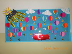 23 NİSAN ULUSAL EGEMENLİK VE ÇOCUK BAYRAMI Classroom Bulletin Boards, Classroom Decor, Special Day, Elf, Diy And Crafts, Kindergarten, Triangle, Preschool, Frame