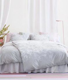 Elegant ... Style Floral Border Print Duvet Cover And Pillowcase Set Twin Single  Size Cotton Grey White Gray Leaves Silhouette Floral Garden Branches Girly  Bedding