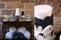 Vintage Themed Birthday Party- The Decorations White Dessert Tables, White Desserts, 40th Bday Ideas, 40th Birthday Parties, Birthday Ideas, Black And White Theme, Black White, Dessert Table Birthday, Gorgeous Cakes