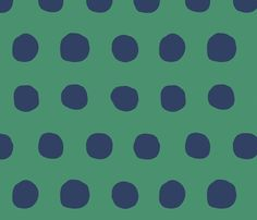 Jumbo Dots in kelly/navy fabric by domesticate on Spoonflower - custom fabric